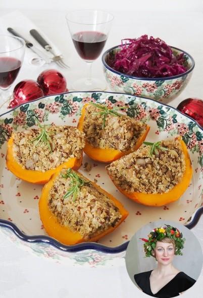 Hokkaido-Kürbis mit Maronen-Quinoa-Füllung und hausgemachtem blauem Sauerkraut