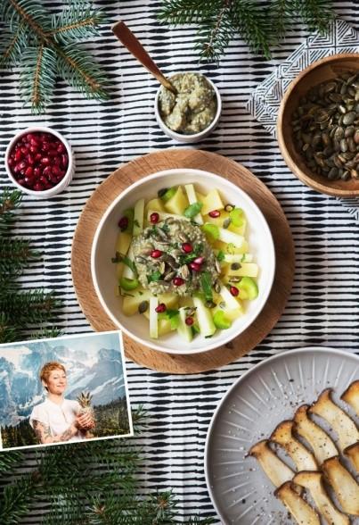 Kartoffelsalat mit Sellerie, Kohlrabi und Kernöl-Joghurt-Basilikumsamen Dressing